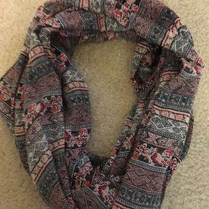 Pink flower infinity scarf